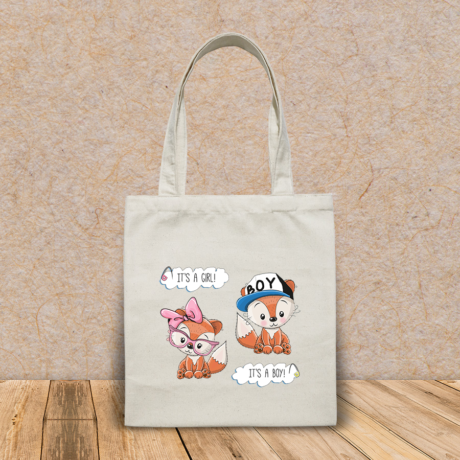 Túi vải tote canvas in hình baby shower greeting card foxes HT521