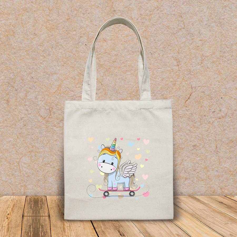 Túi vải tote canvas in hình cute cartoon blue unicorn on HT532