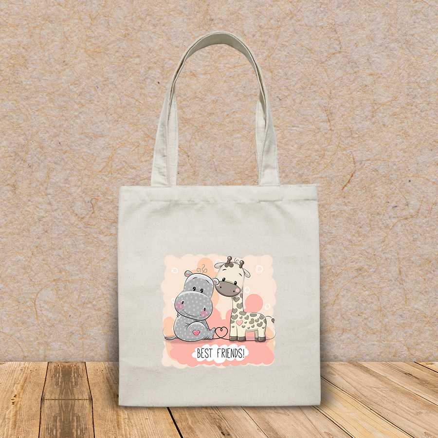 Túi vải tote canvas in hình cute cartoon hippo giraffe on HT527