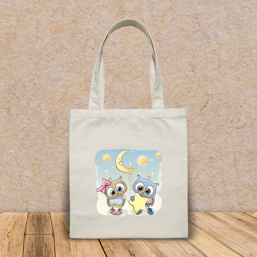 Túi vải tote canvas in hình cute cartoon owl boy gives HT519