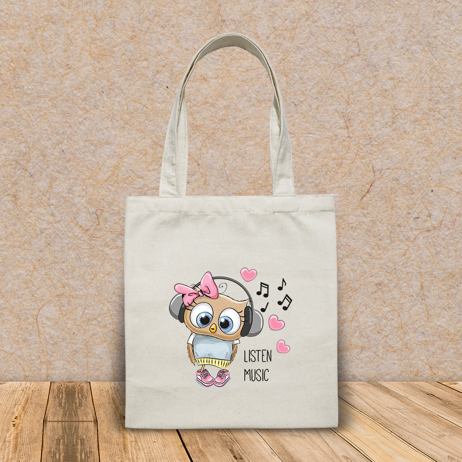 Túi vải tote canvas in hình cute cartoon owl girl headphones HT516