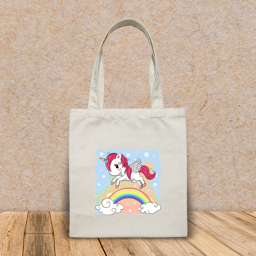 Túi vải tote canvas in hình cute cartoon unicorn flying over HT545