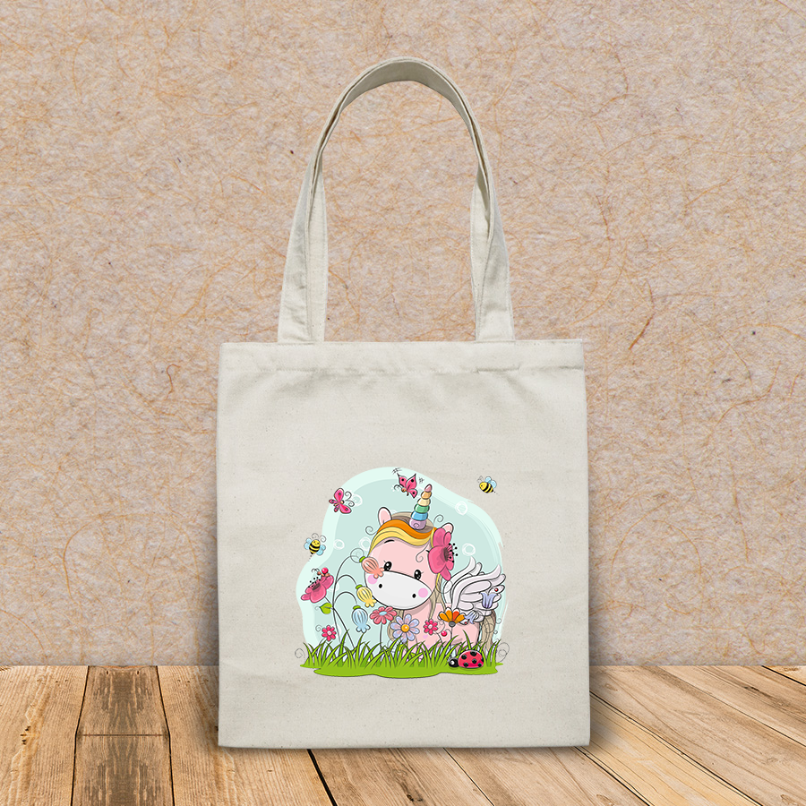 Túi vải tote canvas in hình cute cartoon unicorn on meadow HT541