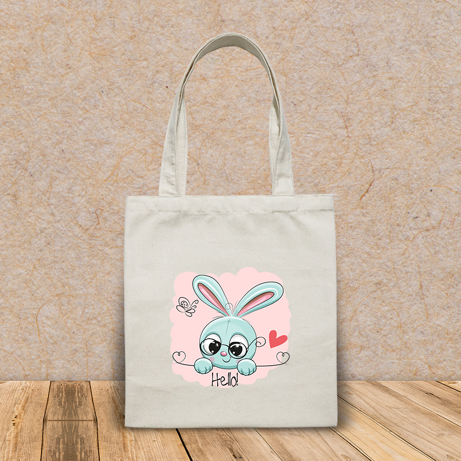 Túi vải tote canvas in hình cute drawing rabbit on pink HT524