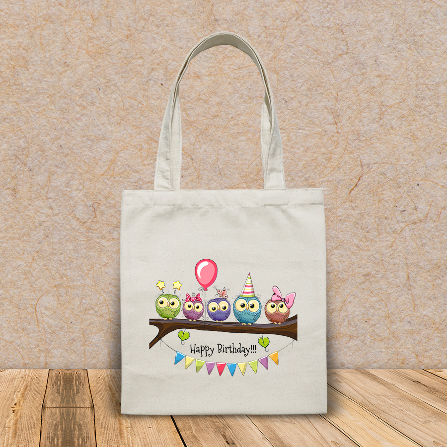 Túi vải tote canvas in hình five owls on brunch balloon HT520