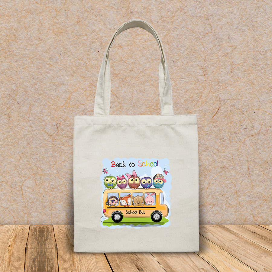 Túi vải tote canvas in hình school bus four cute cartoon HT539