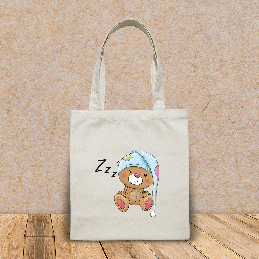 Túi vải tote canvas in hình sleeping cute teddy bear hood HT538