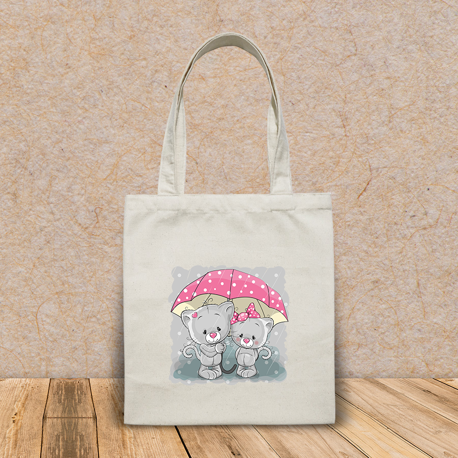 Túi vải tote canvas in hình two cute cartoon kittens umbrella HT514