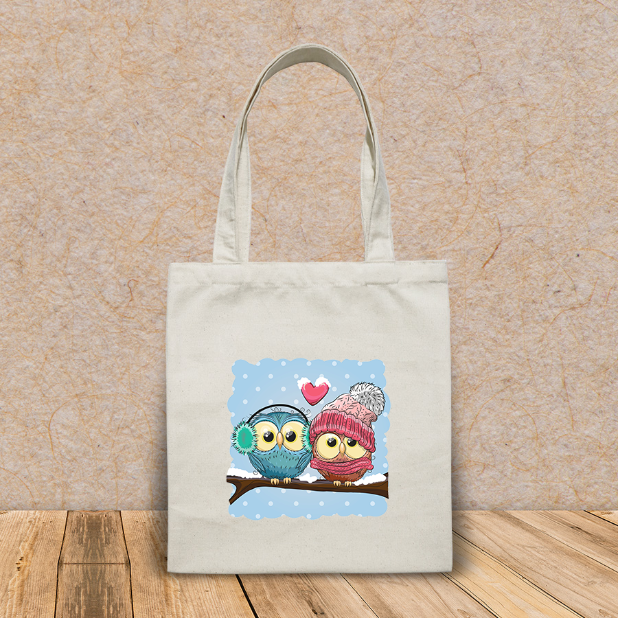 Túi vải tote canvas in hình two cute drawn owls sits HT548