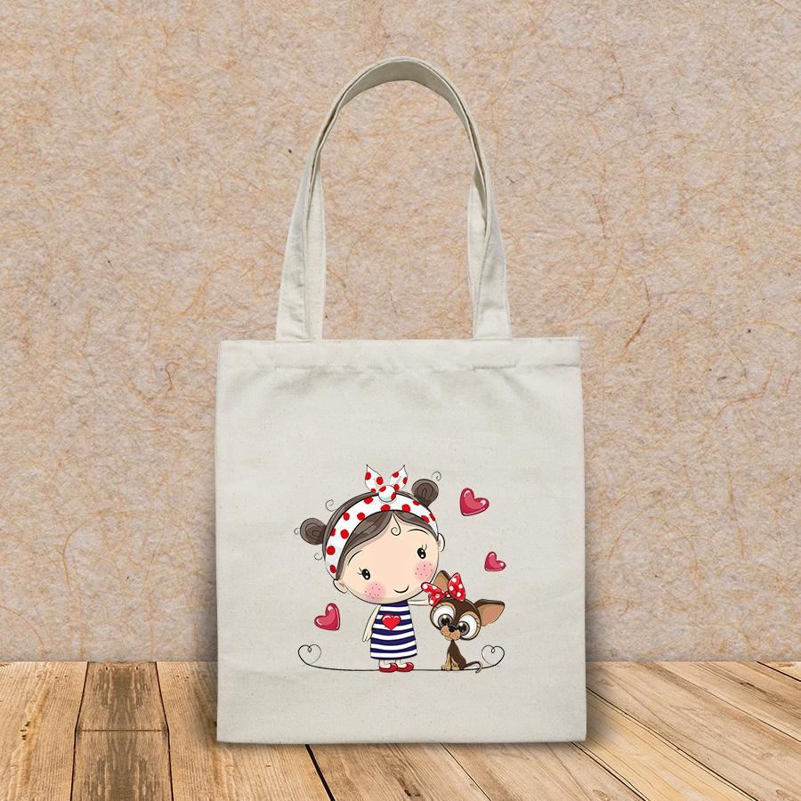 Túi vải tote canvas in hình cute cartoon puppy girl striped HT552