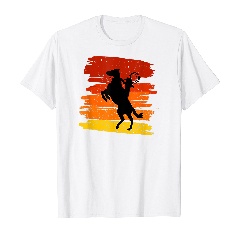 Áo thun cotton unisex HTFashion in hình Horse Power with wild Cowboy for Country Lovers